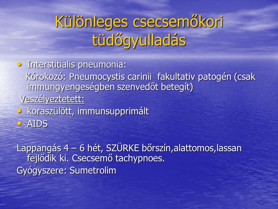 Különleges csecsemőkori tüdőgyulladás Interstitialis pneumonia: Interstitialis pneumonia: Kórokozó: Pneumocystis carinii fakultativ patogén (csak immungyengeségben szenvedőt betegít) Kórokozó: Pneumocystis carinii fakultativ patogén (csak immungyengeségben szenvedőt betegít) Veszélyeztetett: Veszélyeztetett: koraszülött, immunsupprimált koraszülött, immunsupprimált AIDS AIDS Lappangás 4 – 6 hét, SZÜRKE bőrszín,alattomos,lassan fejlődik ki.
