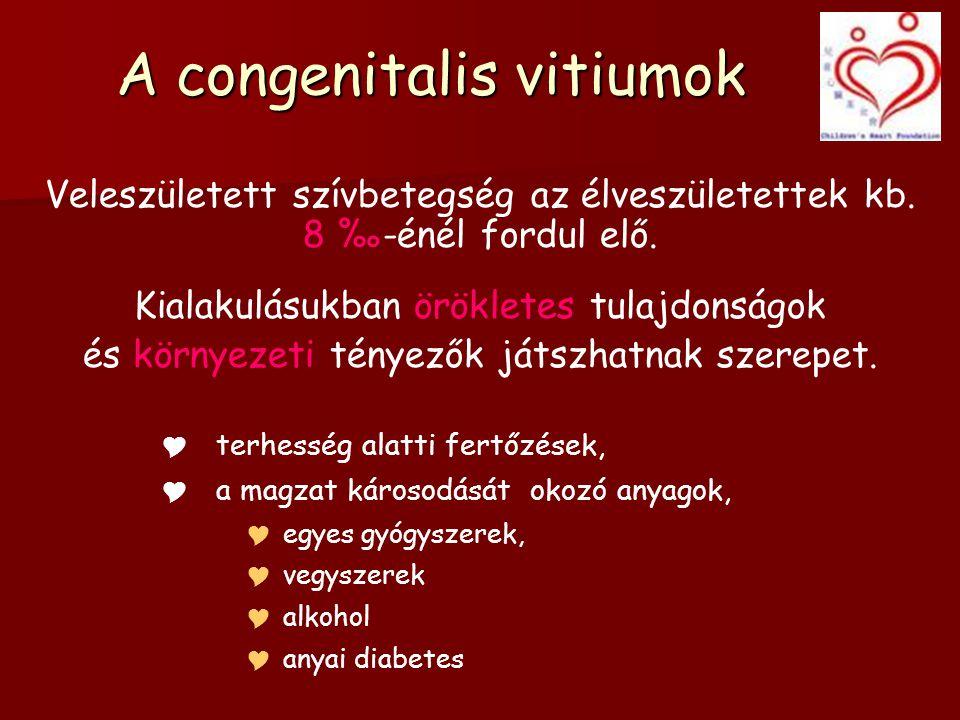 A congenitalis vitiumok Veleszületett szívbetegség az élveszületettek kb.