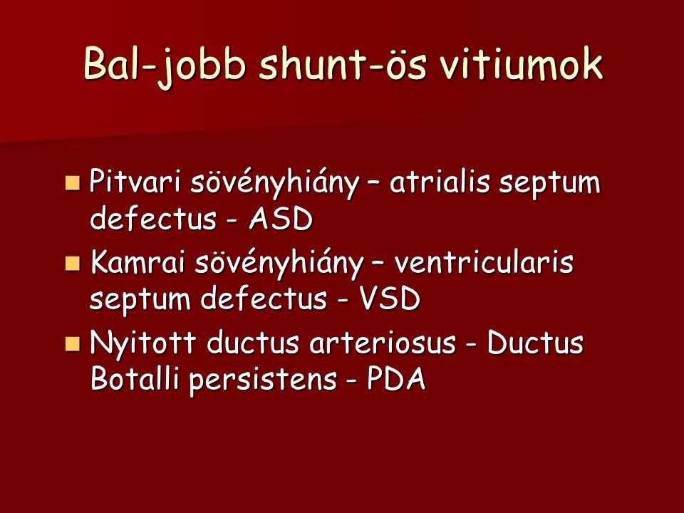 Bal-jobb shunt-ös vitiumok Pitvari sövényhiány – atrialis septum defectus - ASD Pitvari sövényhiány – atrialis septum defectus - ASD Kamrai sövényhiány – ventricularis septum defectus - VSD Kamrai sövényhiány – ventricularis septum defectus - VSD Nyitott ductus arteriosus - Ductus Botalli persistens - PDA Nyitott ductus arteriosus - Ductus Botalli persistens - PDA