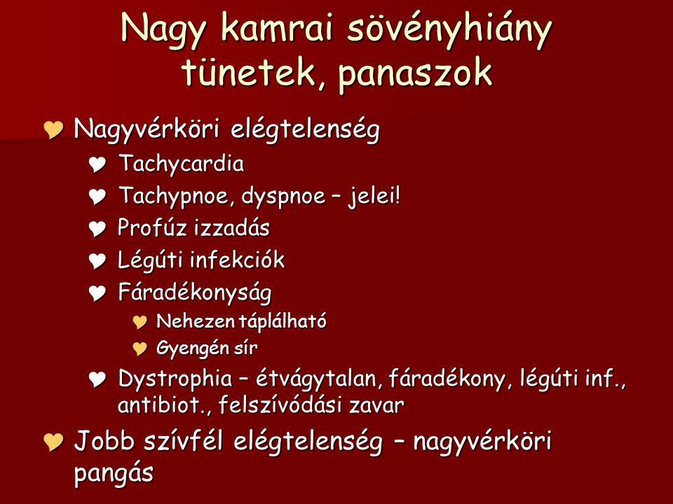 Nagy kamrai sövényhiány tünetek, panaszok  Nagyvérköri elégtelenség  Tachycardia  Tachypnoe, dyspnoe – jelei.