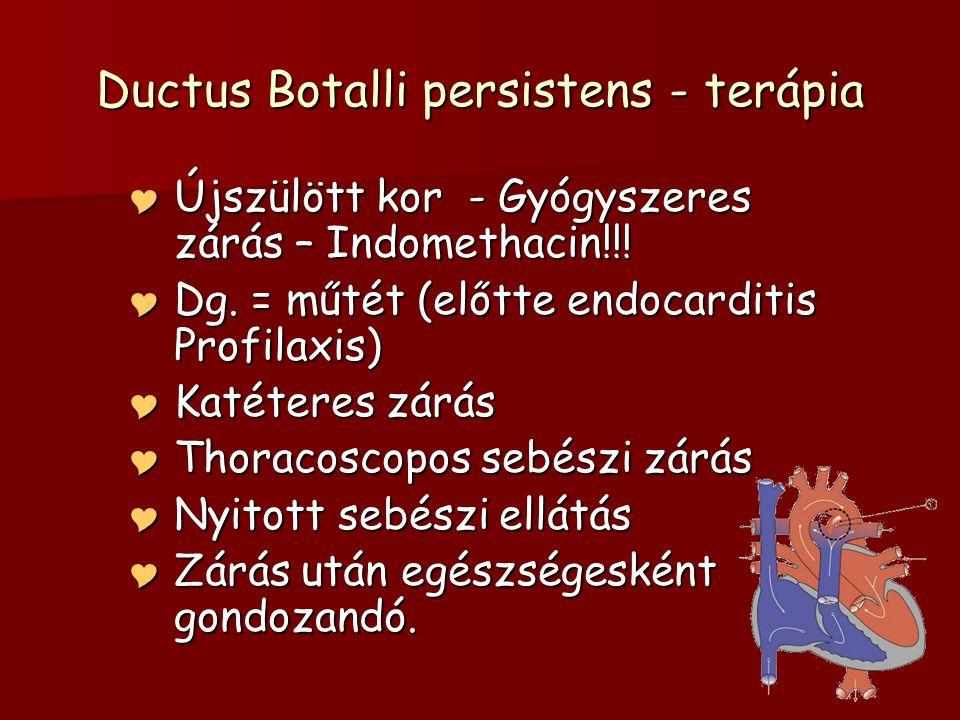 Ductus Botalli persistens - terápia  Újszülött kor - Gyógyszeres zárás – Indomethacin!!.
