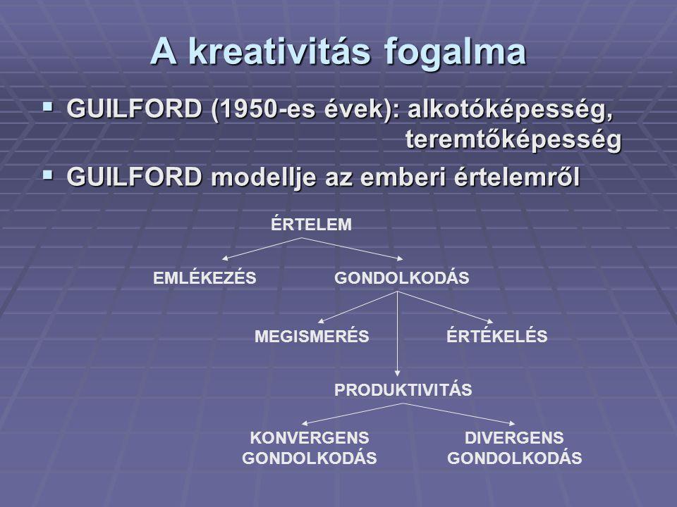 A kreativitás fogalma  GUILFORD (1950-es évek): alkotóképesség, teremtőképesség teremtőképesség  GUILFORD modellje az emberi értelemről ÉRTELEM EMLÉ