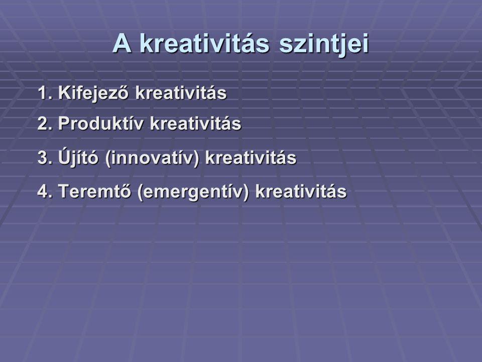 A kreativitás szintjei 1. Kifejező kreativitás 2. Produktív kreativitás 3. Újító (innovatív) kreativitás 4. Teremtő (emergentív) kreativitás