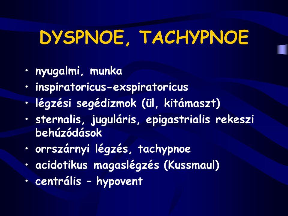 DYSPNOE, TACHYPNOE nyugalmi, munka inspiratoricus-exspiratoricus légzési segédizmok (ül, kitámaszt) sternalis, juguláris, epigastrialis rekeszi behúzó