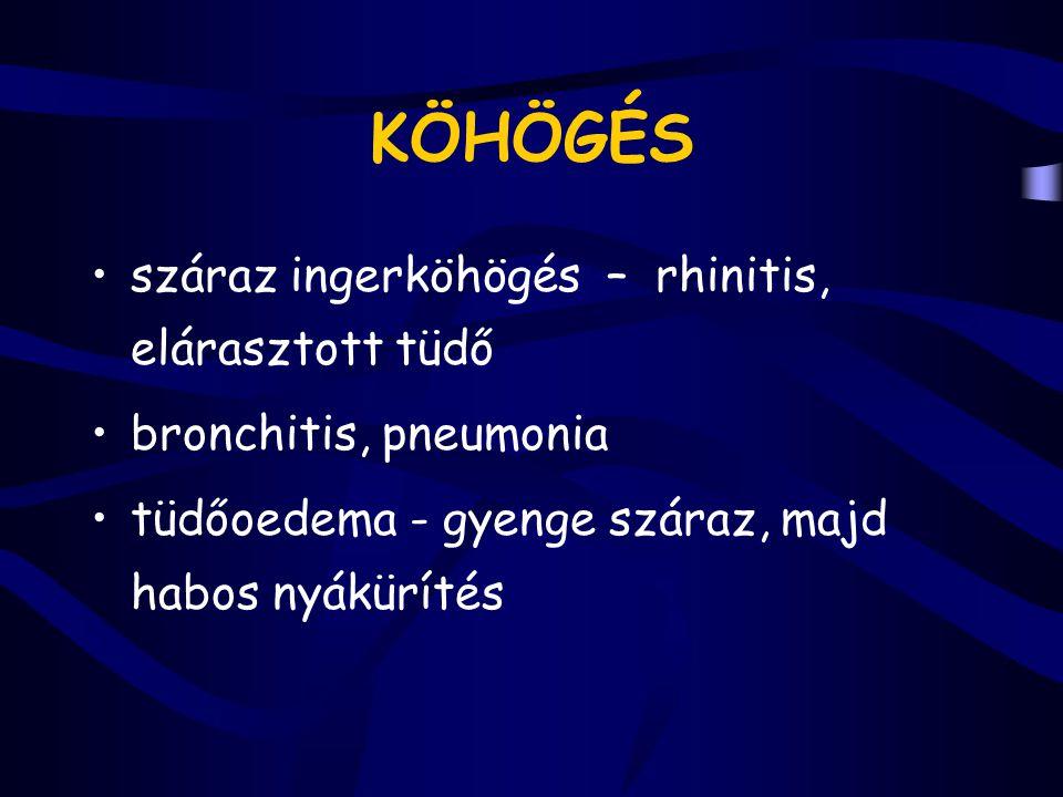 CYANOSIS perifériás – centrális acut - chronicus kóros hgb.