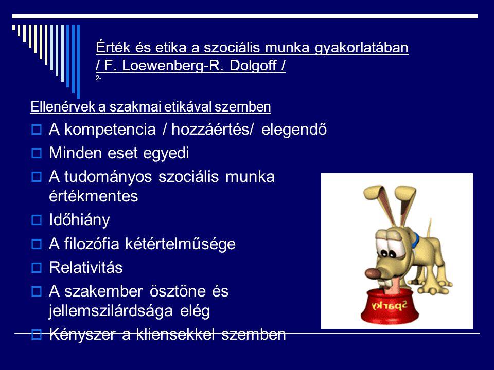 Érték és etika a szociális munka gyakorlatában / F. Loewenberg-R. Dolgoff / 2- Ellenérvek a szakmai etikával szemben  A kompetencia / hozzáértés/ ele