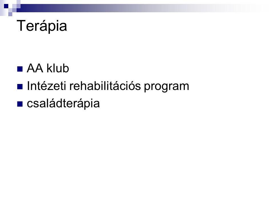 Terápia AA klub Intézeti rehabilitációs program családterápia