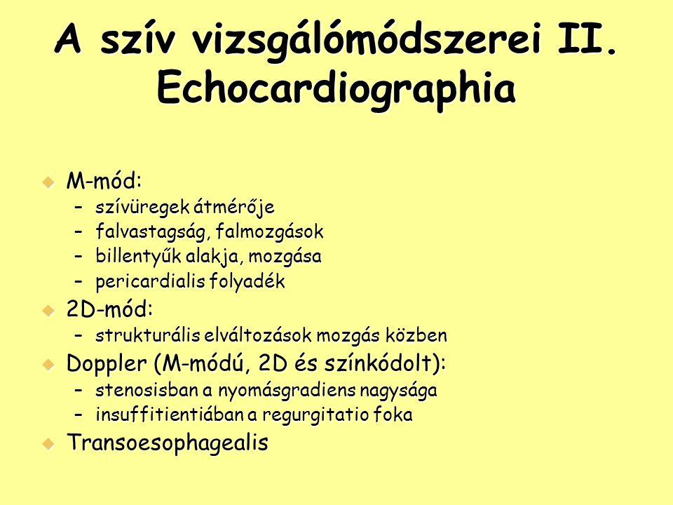 A szív vizsgálómódszerei II. Echocardiographia  M-mód: –szívüregek átmérője –falvastagság, falmozgások –billentyűk alakja, mozgása –pericardialis fol