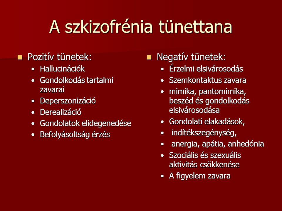 A szkizofrénia tünettana Pozitív tünetek: Pozitív tünetek: HallucinációkHallucinációk Gondolkodás tartalmi zavaraiGondolkodás tartalmi zavarai DeperszonizációDeperszonizáció DerealizációDerealizáció Gondolatok elidegenedéseGondolatok elidegenedése Befolyásoltság érzésBefolyásoltság érzés Negatív tünetek: Negatív tünetek: Érzelmi elsivárosodás Szemkontaktus zavara mimika, pantomimika, beszéd és gondolkodás elsivárosodása Gondolati elakadások, indítékszegénység, anergia, apátia, anhedónia Szociális és szexuális aktivitás csökkenése A figyelem zavara