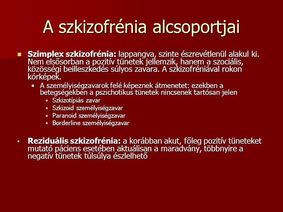 A szkizofrénia alcsoportjai Szimplex szkizofrénia: lappangva, szinte észrevétlenül alakul ki. Nem elsősorban a pozitív tünetek jellemzik, hanem a szoc