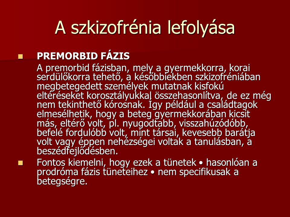 A szkizofrénia lefolyása PREMORBID FÁZIS PREMORBID FÁZIS A premorbid fázisban, mely a gyermekkorra, korai serdülőkorra tehető, a későbbiekben szkizofréniában megbetegedett személyek mutatnak kisfokú eltéréseket korosztályukkal összehasonlítva, de ez még nem tekinthető kórosnak.