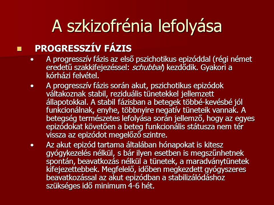 A szkizofrénia lefolyása PROGRESSZÍV FÁZIS PROGRESSZÍV FÁZIS A progresszív fázis az első pszichotikus epizóddal (régi német eredetű szakkifejezéssel: schubbal) kezdődik.