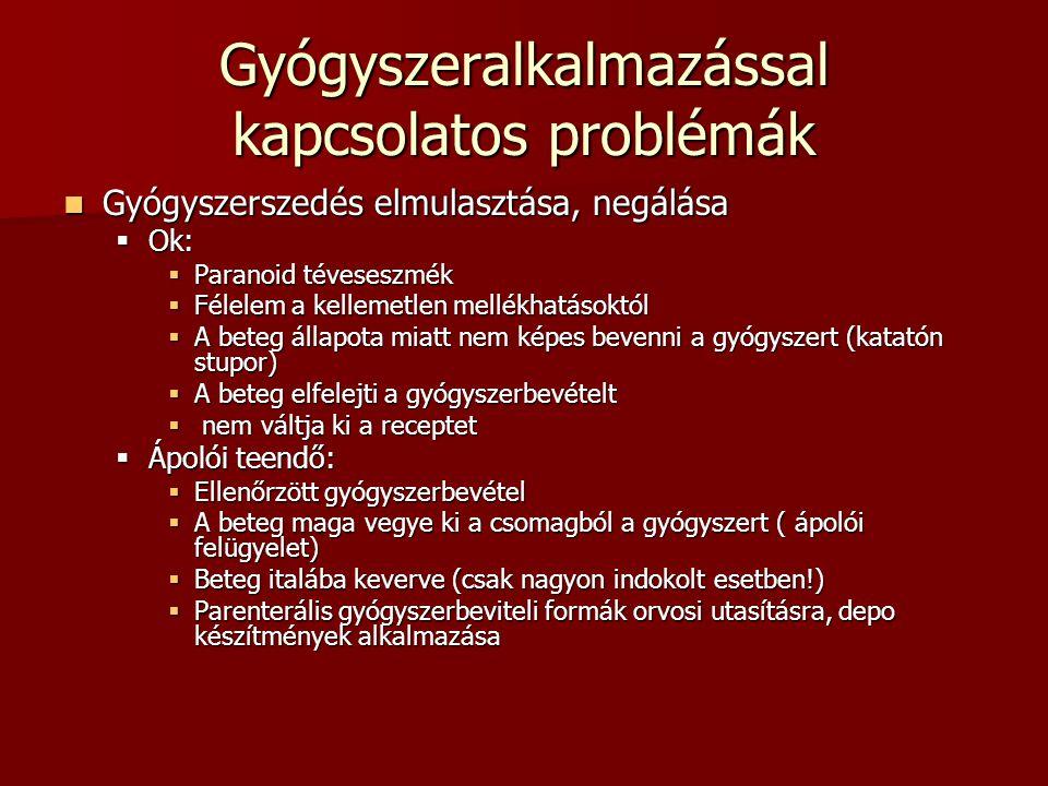 Gyógyszeralkalmazással kapcsolatos problémák Gyógyszerszedés elmulasztása, negálása Gyógyszerszedés elmulasztása, negálása  Ok:  Paranoid téveseszmé