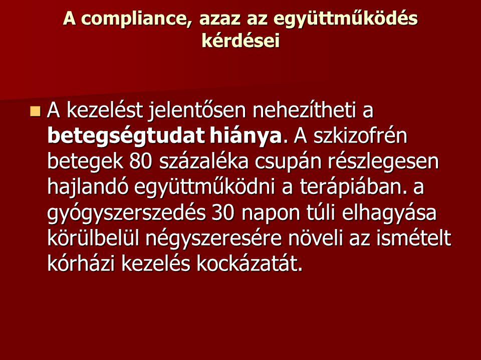 A compliance, azaz az együttműködés kérdései A kezelést jelentősen nehezítheti a betegségtudat hiánya. A szkizofrén betegek 80 százaléka csupán részle