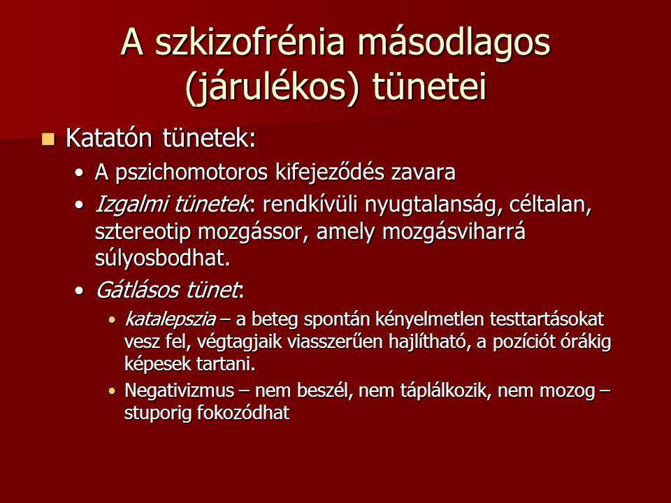 A szkizofrénia másodlagos (járulékos) tünetei Katatón tünetek: Katatón tünetek: A pszichomotoros kifejeződés zavaraA pszichomotoros kifejeződés zavara Izgalmi tünetek: rendkívüli nyugtalanság, céltalan, sztereotip mozgássor, amely mozgásviharrá súlyosbodhat.Izgalmi tünetek: rendkívüli nyugtalanság, céltalan, sztereotip mozgássor, amely mozgásviharrá súlyosbodhat.