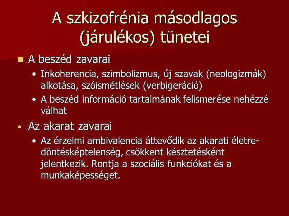 A szkizofrénia másodlagos (járulékos) tünetei A beszéd zavarai A beszéd zavarai Inkoherencia, szimbolizmus, új szavak (neologizmák) alkotása, szóismétlések (verbigeráció)Inkoherencia, szimbolizmus, új szavak (neologizmák) alkotása, szóismétlések (verbigeráció) A beszéd információ tartalmának felismerése nehézzé válhatA beszéd információ tartalmának felismerése nehézzé válhat Az akarat zavarai Az akarat zavarai Az érzelmi ambivalencia áttevődik az akarati életre- döntésképtelenség, csökkent késztetésként jelentkezik.