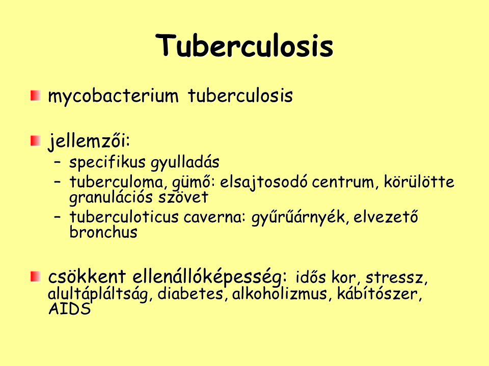 Tuberculosis mycobacterium tuberculosis jellemzői: –specifikus gyulladás –tuberculoma, gümő: elsajtosodó centrum, körülötte granulációs szövet –tuberculoticus caverna: gyűrűárnyék, elvezető bronchus csökkent ellenállóképesség: idős kor, stressz, alultápláltság, diabetes, alkoholizmus, kábítószer, AIDS