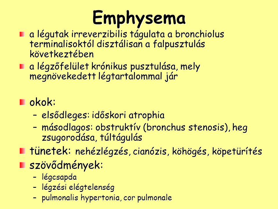 Emphysema a légutak irreverzibilis tágulata a bronchiolus terminalisoktól disztálisan a falpusztulás következtében a légzőfelület krónikus pusztulása, mely megnövekedett légtartalommal jár okok: –elsődleges: időskori atrophia –másodlagos: obstruktív (bronchus stenosis), heg zsugorodása, túltágulás tünetek: nehézlégzés, cianózis, köhögés, köpetürítés szövődmények: –légcsapda –légzési elégtelenség –pulmonalis hypertonia, cor pulmonale