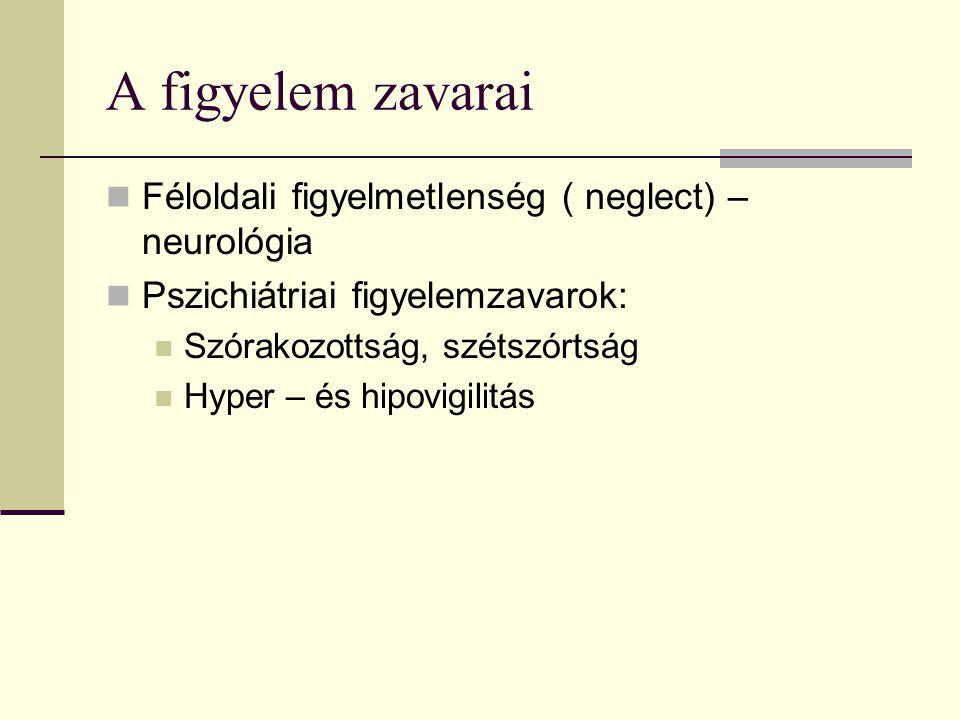 A figyelem zavarai Féloldali figyelmetlenség ( neglect) – neurológia Pszichiátriai figyelemzavarok: Szórakozottság, szétszórtság Hyper – és hipovigili