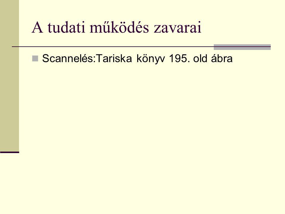A tudati működés zavarai Scannelés:Tariska könyv 195. old ábra