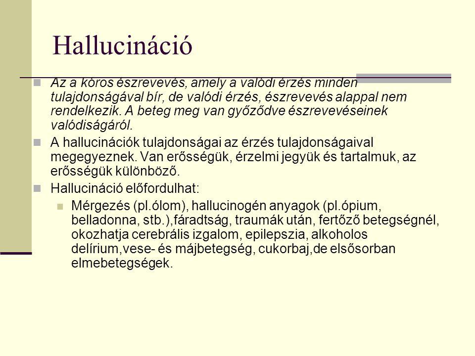 Hallucináció Az a kóros észrevevés, amely a valódi érzés minden tulajdonságával bír, de valódi érzés, észrevevés alappal nem rendelkezik. A beteg meg