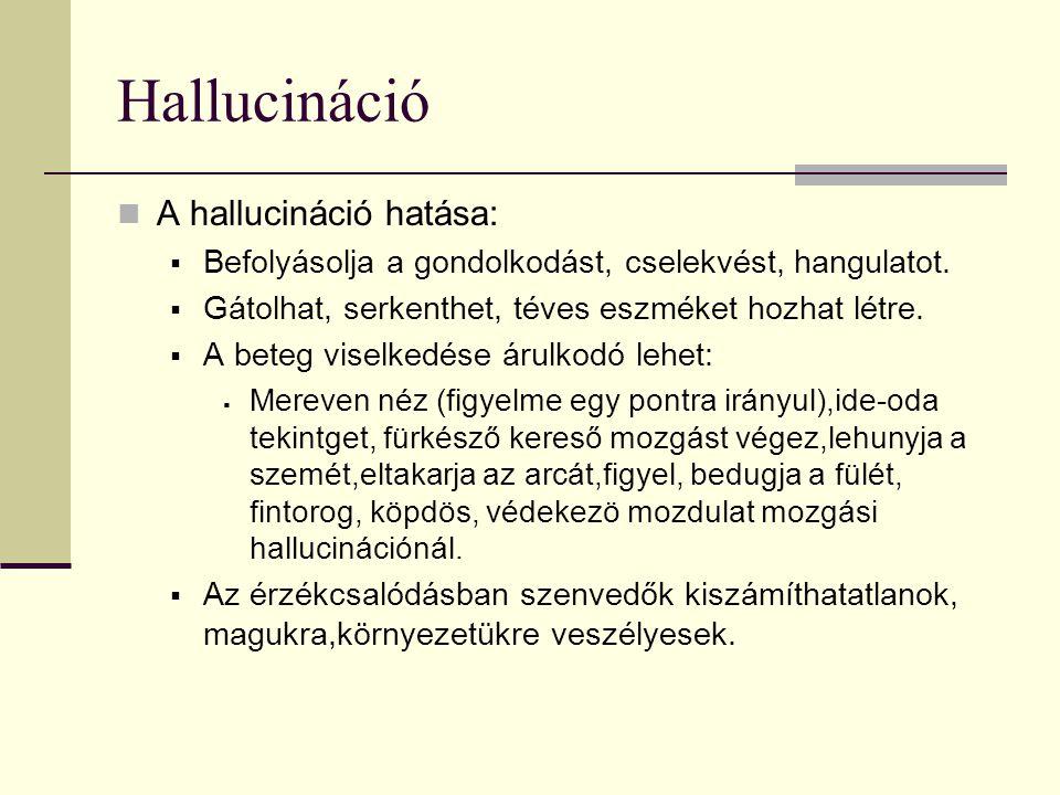 Hallucináció A hallucináció hatása:  Befolyásolja a gondolkodást, cselekvést, hangulatot.  Gátolhat, serkenthet, téves eszméket hozhat létre.  A be