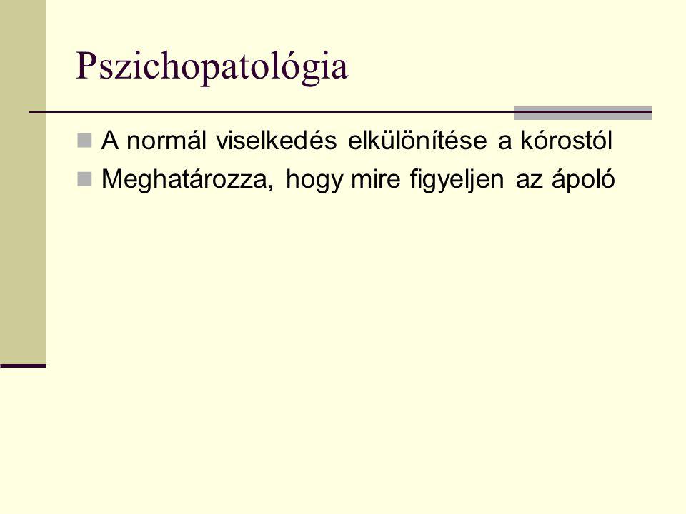 Pszichopatológia A normál viselkedés elkülönítése a kórostól Meghatározza, hogy mire figyeljen az ápoló