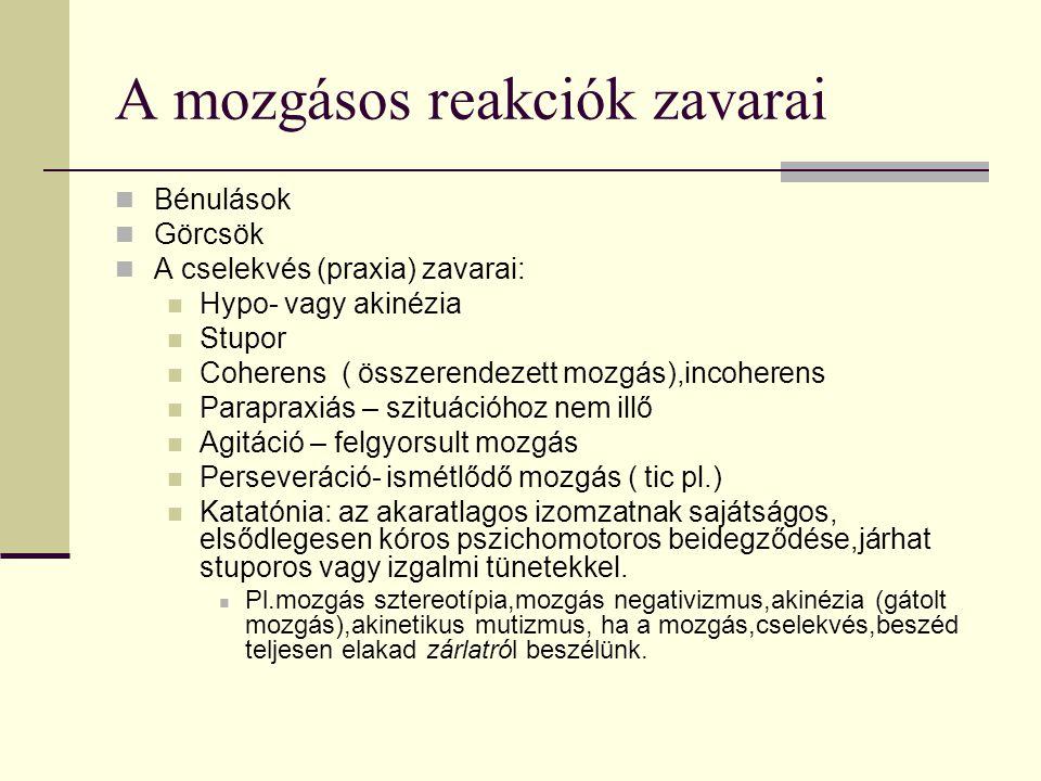 A mozgásos reakciók zavarai Bénulások Görcsök A cselekvés (praxia) zavarai: Hypo- vagy akinézia Stupor Coherens ( összerendezett mozgás),incoherens Pa