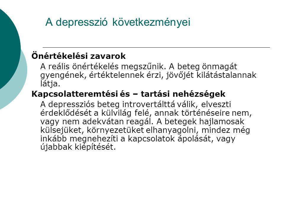 A depresszió következményei Önértékelési zavarok A reális önértékelés megszűnik. A beteg önmagát gyengének, értéktelennek érzi, jövőjét kilátástalanna