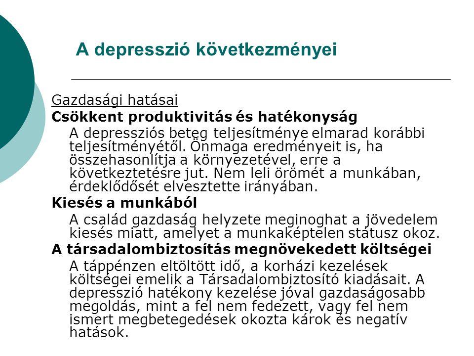 A depresszió következményei Gazdasági hatásai Csökkent produktivitás és hatékonyság A depressziós beteg teljesítménye elmarad korábbi teljesítményétől