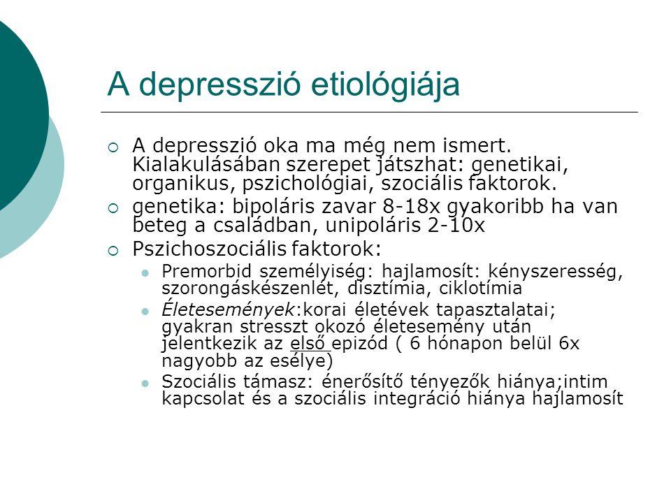A depresszió etiológiája  A depresszió oka ma még nem ismert. Kialakulásában szerepet játszhat: genetikai, organikus, pszichológiai, szociális faktor