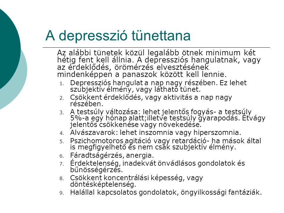 A depresszió tünettana Az alábbi tünetek közül legalább ötnek minimum két hétig fent kell állnia. A depressziós hangulatnak, vagy az érdeklődés, örömé