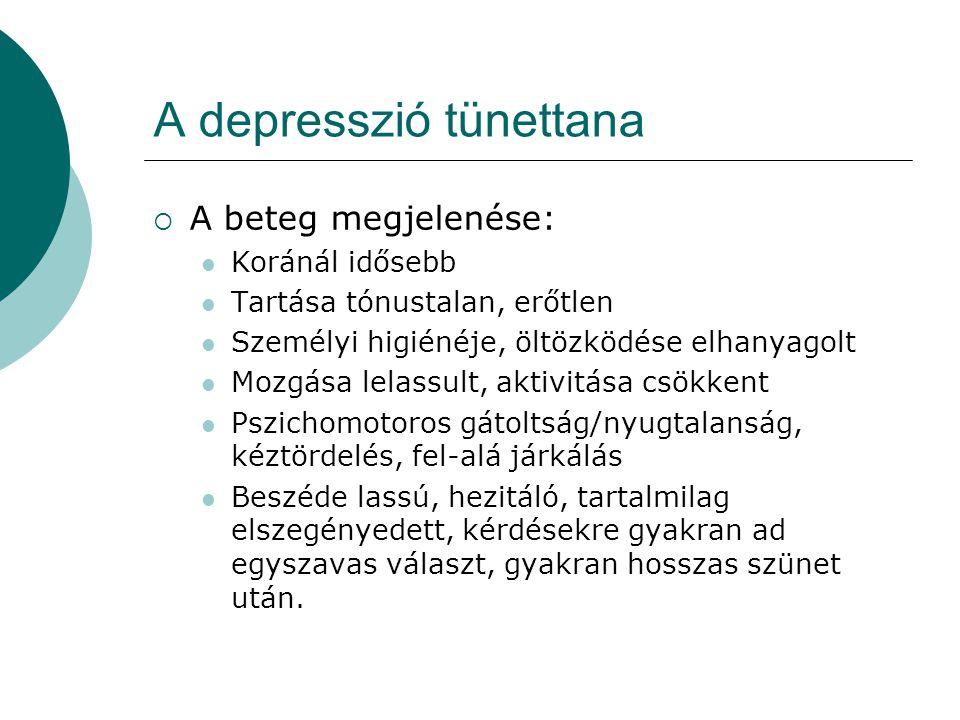 A depresszió tünettana  A beteg megjelenése: Koránál idősebb Tartása tónustalan, erőtlen Személyi higiénéje, öltözködése elhanyagolt Mozgása lelassul