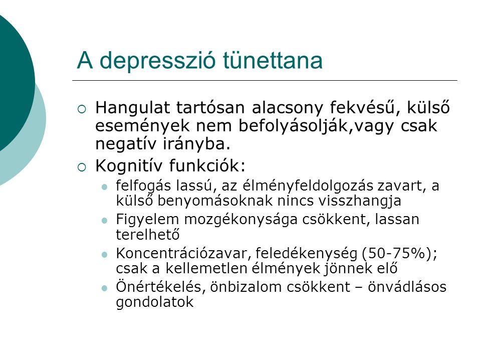 A depresszió tünettana  Hangulat tartósan alacsony fekvésű, külső események nem befolyásolják,vagy csak negatív irányba.  Kognitív funkciók: felfogá