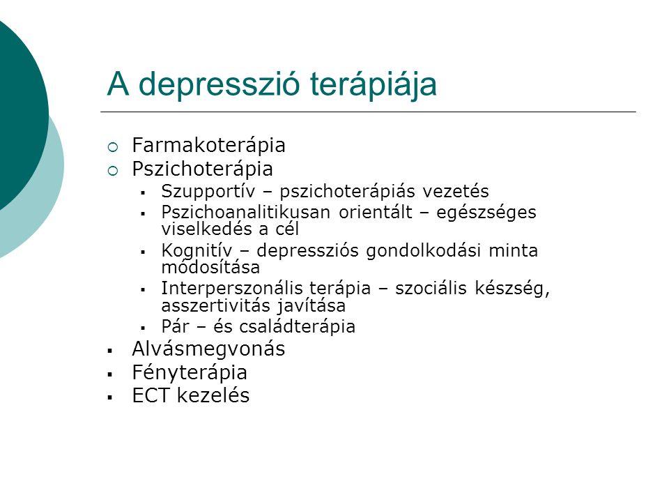 A depresszió terápiája  Farmakoterápia  Pszichoterápia  Szupportív – pszichoterápiás vezetés  Pszichoanalitikusan orientált – egészséges viselkedé