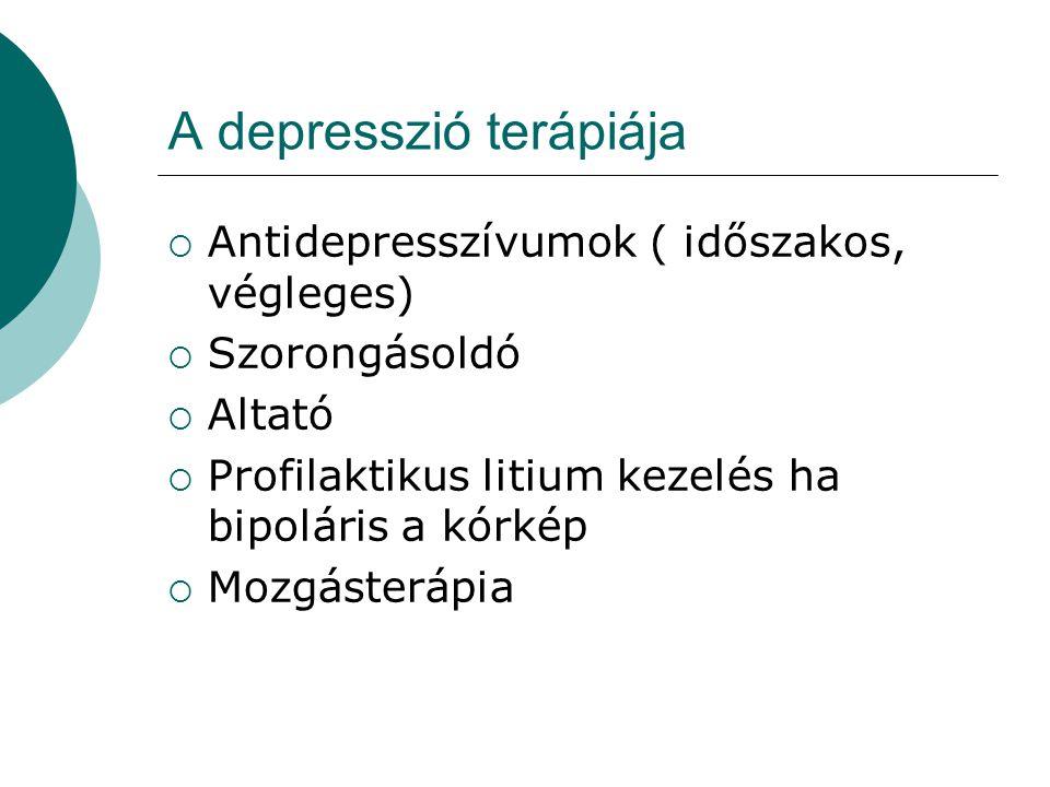 A depresszió terápiája  Antidepresszívumok ( időszakos, végleges)  Szorongásoldó  Altató  Profilaktikus litium kezelés ha bipoláris a kórkép  Moz