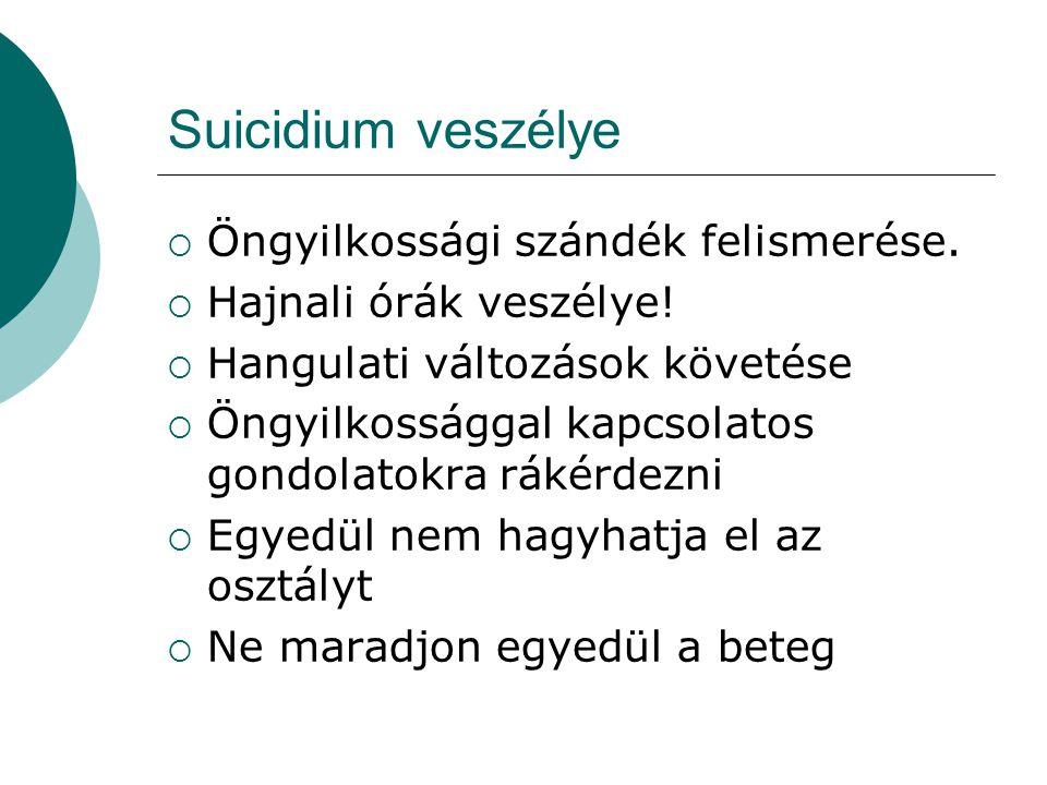Suicidium veszélye  Öngyilkossági szándék felismerése.  Hajnali órák veszélye!  Hangulati változások követése  Öngyilkossággal kapcsolatos gondola