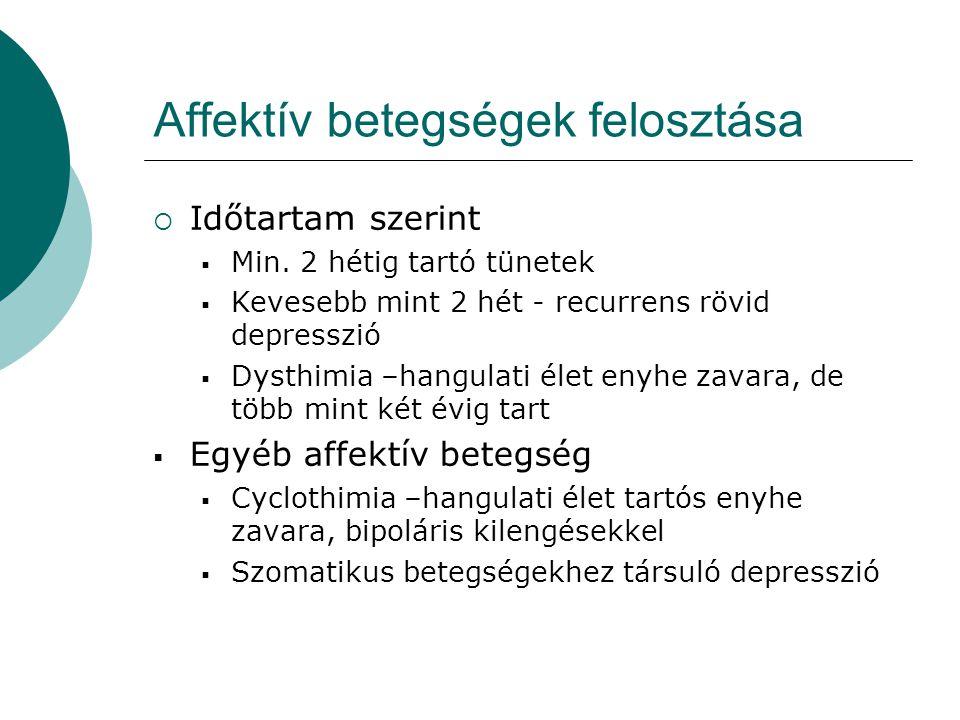 Affektív betegségek felosztása  Időtartam szerint  Min. 2 hétig tartó tünetek  Kevesebb mint 2 hét - recurrens rövid depresszió  Dysthimia –hangul