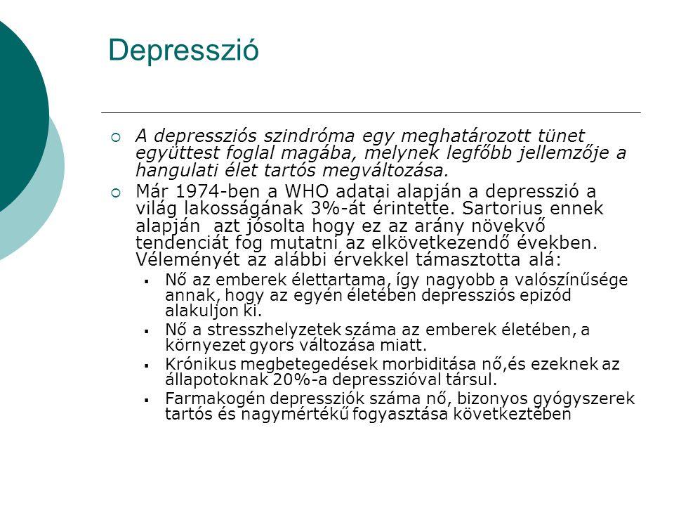 Depresszió  A depressziós szindróma egy meghatározott tünet együttest foglal magába, melynek legfőbb jellemzője a hangulati élet tartós megváltozása.
