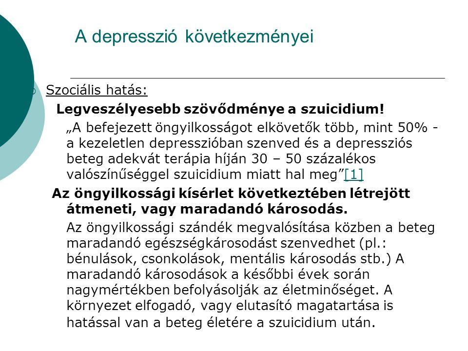 """A depresszió következményei  Szociális hatás: Legveszélyesebb szövődménye a szuicidium! """"A befejezett öngyilkosságot elkövetők több, mint 50% - a kez"""