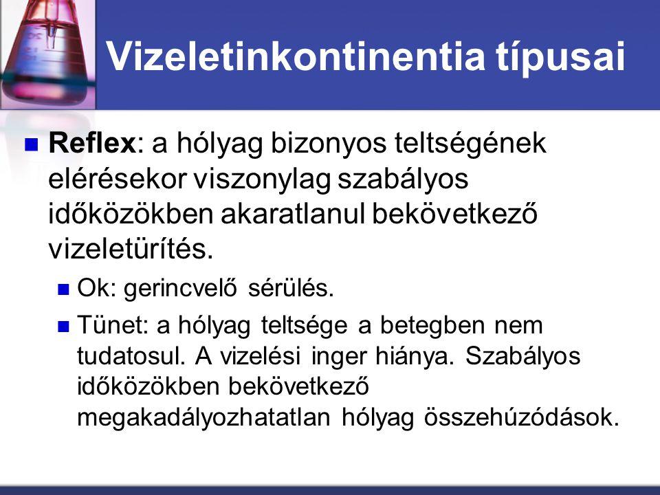 Vizeletinkontinentia típusai Reflex: a hólyag bizonyos teltségének elérésekor viszonylag szabályos időközökben akaratlanul bekövetkező vizeletürítés.
