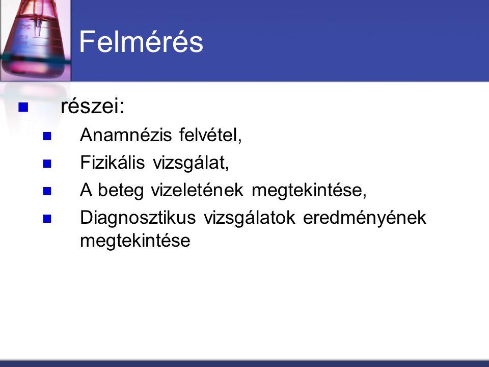 Felmérés részei: Anamnézis felvétel, Fizikális vizsgálat, A beteg vizeletének megtekintése, Diagnosztikus vizsgálatok eredményének megtekintése