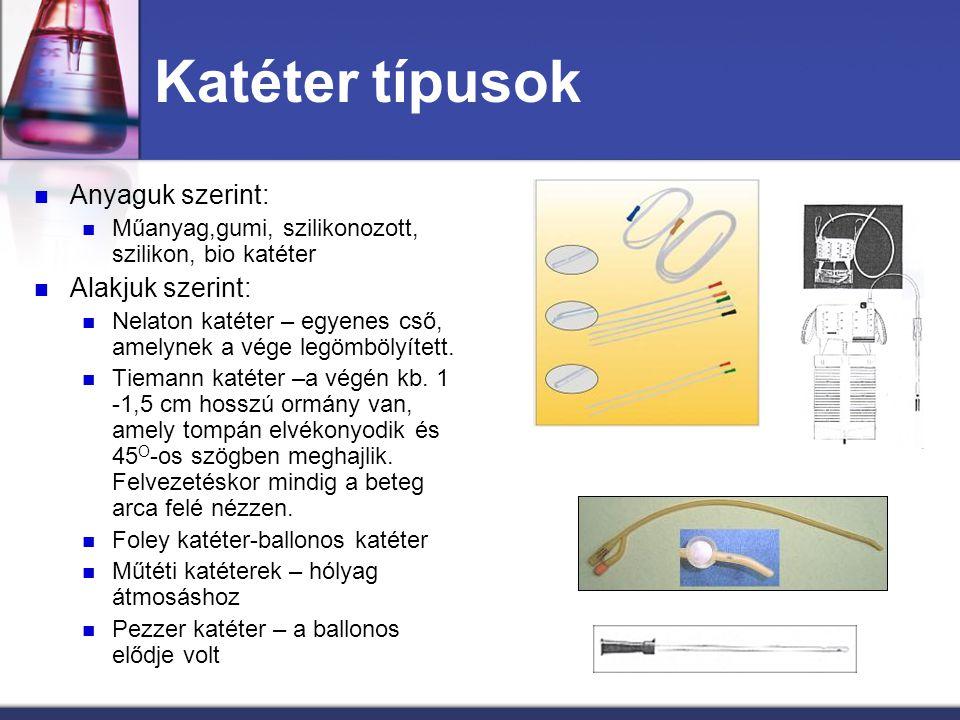 Katéter típusok Anyaguk szerint: Műanyag,gumi, szilikonozott, szilikon, bio katéter Alakjuk szerint: Nelaton katéter – egyenes cső, amelynek a vége le