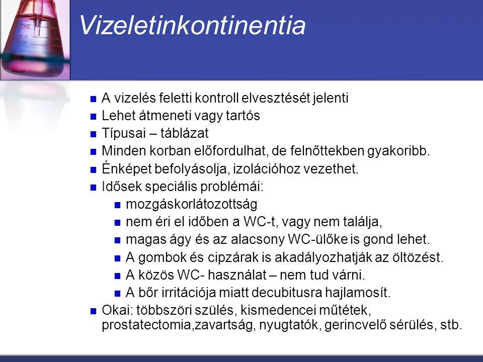 Vizeletinkontinentia típusai Teljes inkontinencia: teljes ellenőrzési képtelenség,folyamatos vizelt csorgás.