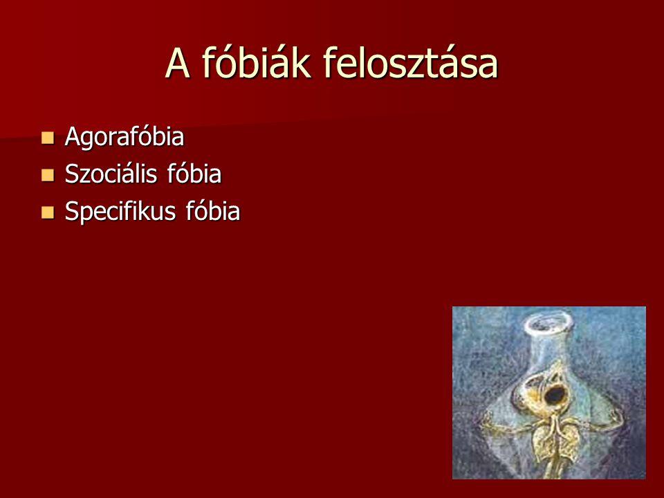 A fóbiák felosztása Agorafóbia Agorafóbia Szociális fóbia Szociális fóbia Specifikus fóbia Specifikus fóbia