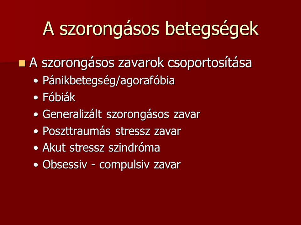 A szorongásos betegségek A szorongásos zavarok csoportosítása A szorongásos zavarok csoportosítása Pánikbetegség/agorafóbiaPánikbetegség/agorafóbia FóbiákFóbiák Generalizált szorongásos zavarGeneralizált szorongásos zavar Poszttraumás stressz zavarPoszttraumás stressz zavar Akut stressz szindrómaAkut stressz szindróma Obsessiv - compulsiv zavarObsessiv - compulsiv zavar