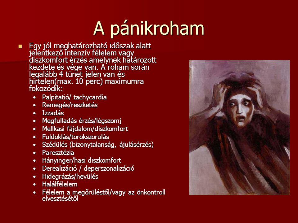 A pánikroham Egy jól meghatározható időszak alatt jelentkező intenzív félelem vagy diszkomfort érzés amelynek határozott kezdete és vége van.