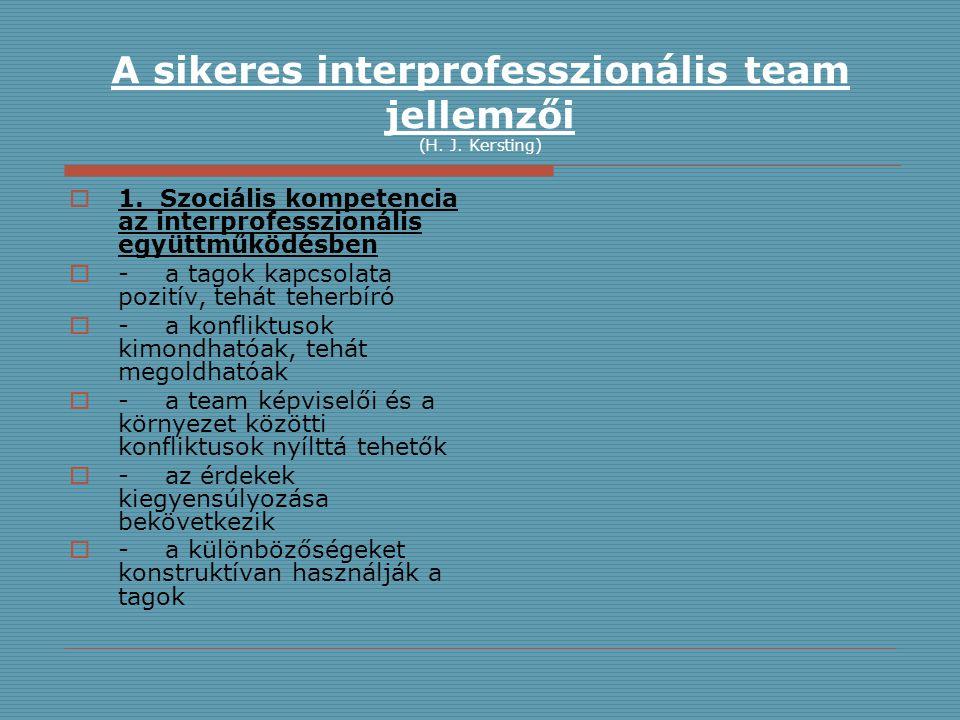 A sikeres interprofesszionális team jellemzői (H. J. Kersting)  1. Szociális kompetencia az interprofesszionális együttműködésben  -a tagok kapcsola