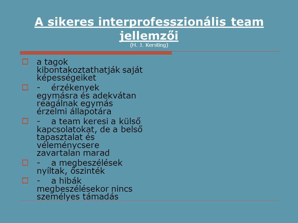 A sikeres interprofesszionális team jellemzői (H. J. Kersting)  a tagok kibontakoztathatják saját képességeiket  -érzékenyek egymásra és adekvátan r