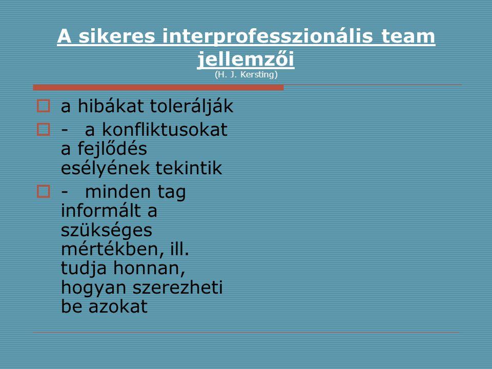 A sikeres interprofesszionális team jellemzői (H. J. Kersting)  a hibákat tolerálják  -a konfliktusokat a fejlődés esélyének tekintik  -minden tag
